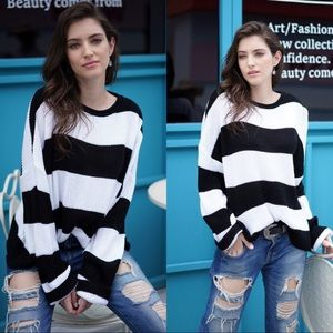 Black and white striped dolman sweater